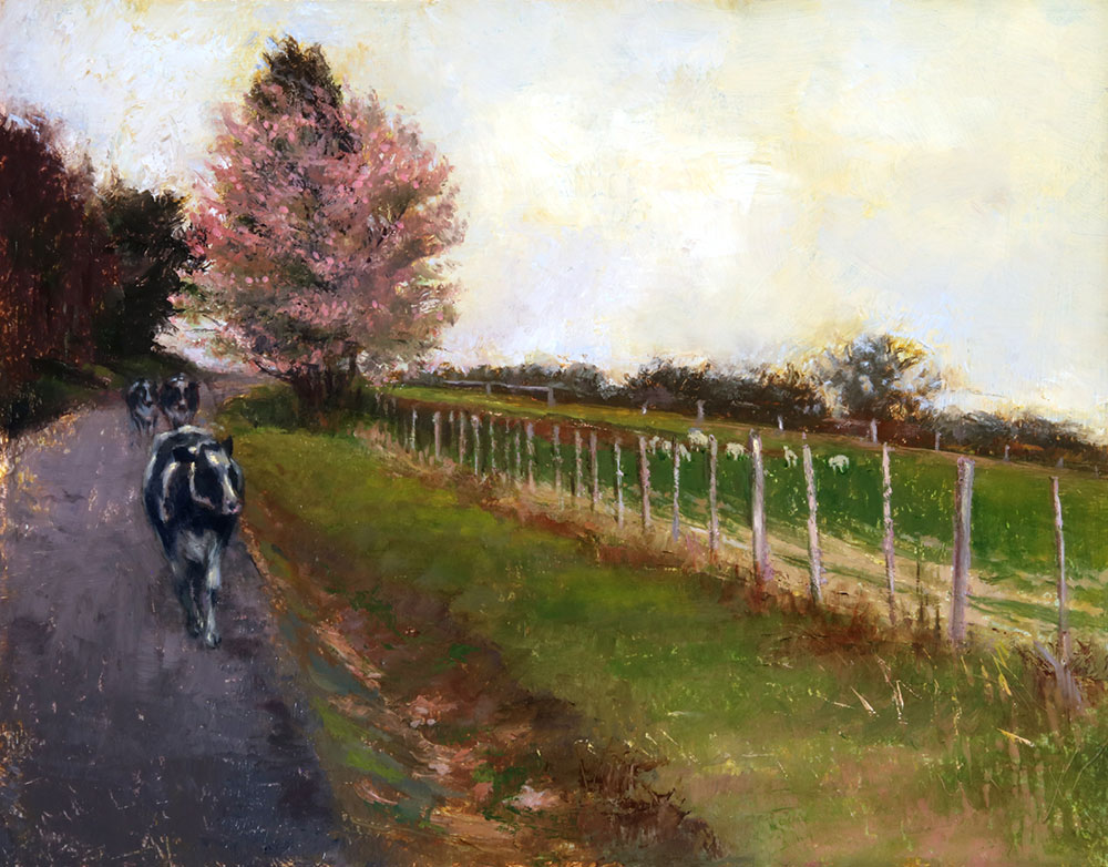 "Wilson Ong ""Blossom Path"" 11x14 oil/board $600."