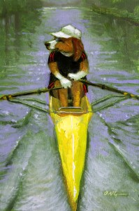 """Wilson Ong """"Dog Paddle"""" 6x4 oil/board $200. SOLD"""