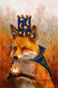 "Wilson Ong ""Fire Fox"" 6x4 oil/board $230."