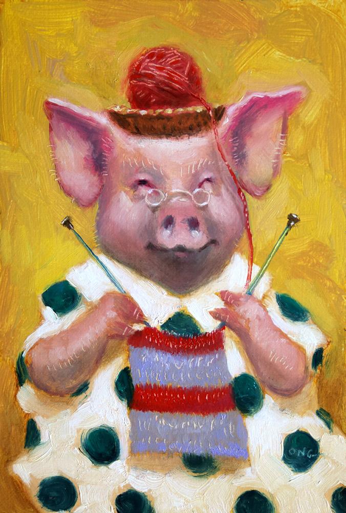 "Wilson Ong ""Ham String"" 6x4 oil/board $200."