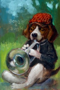 """Wilson Ong """"Beagle and Bugle"""" 6x4 oil $200."""