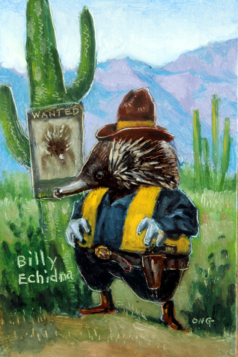 "Wilson Ong ""Billy Echidna"" 6x4 oil $200."