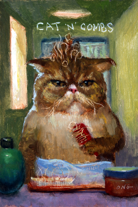"Wilson Ong ""Cat 'n' Combs"" 6x4 oil $200."