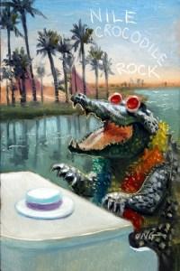 "Wilson Ong ""Nile Crocodile Rock"" 6x4 oil $200."