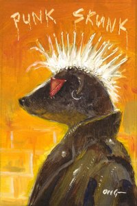 "Wilson Ong ""Skunk Punk"" 3.5x2.5 oil $180."