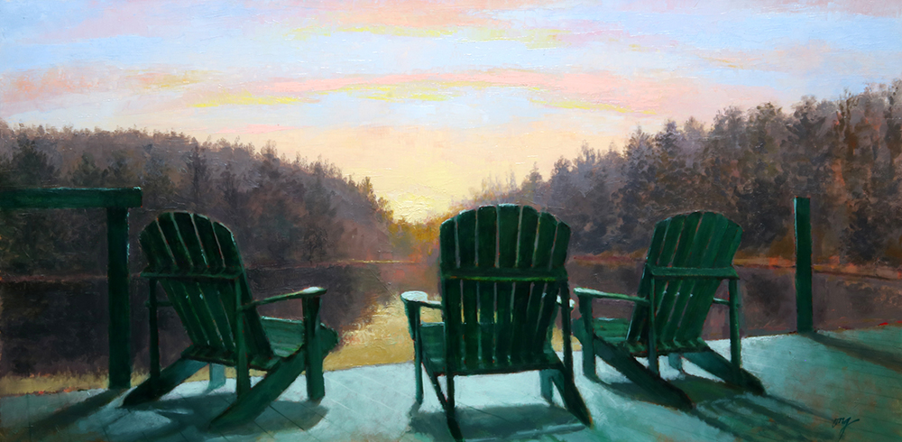 "Wilson Ong ""Three Chairs"" 12x24 oil $1,350."