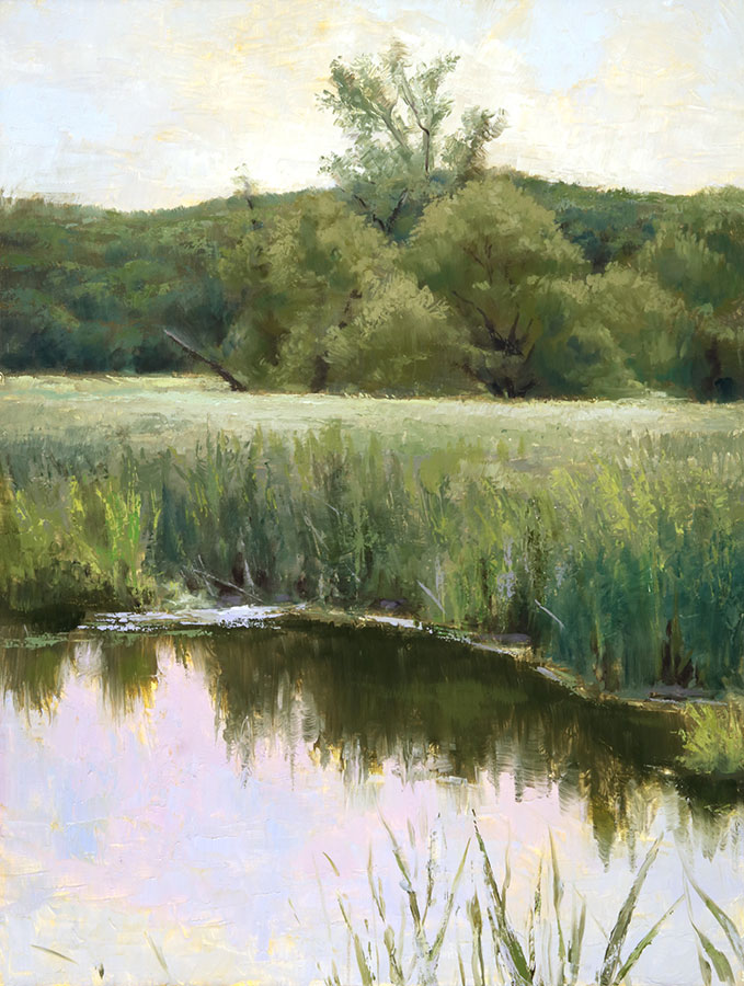 "Wilson Ong ""Marsh Reflection"" 16x12 oil/board $750."