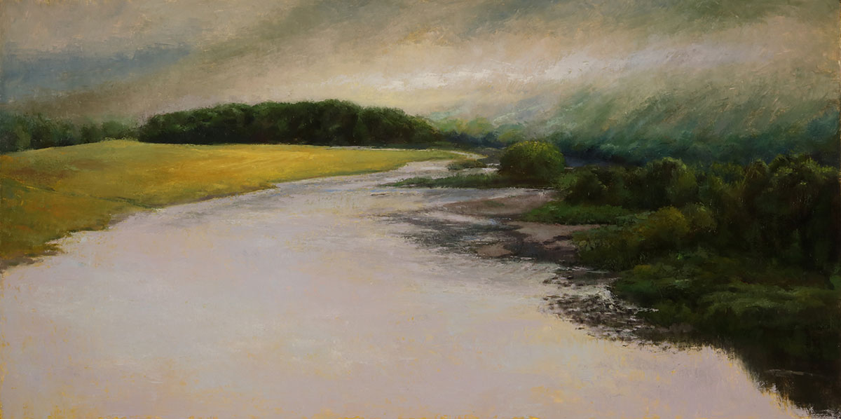 "Wilson Ong ""Morning Fog on Chemung"" 18x36 oil/board $3,000."