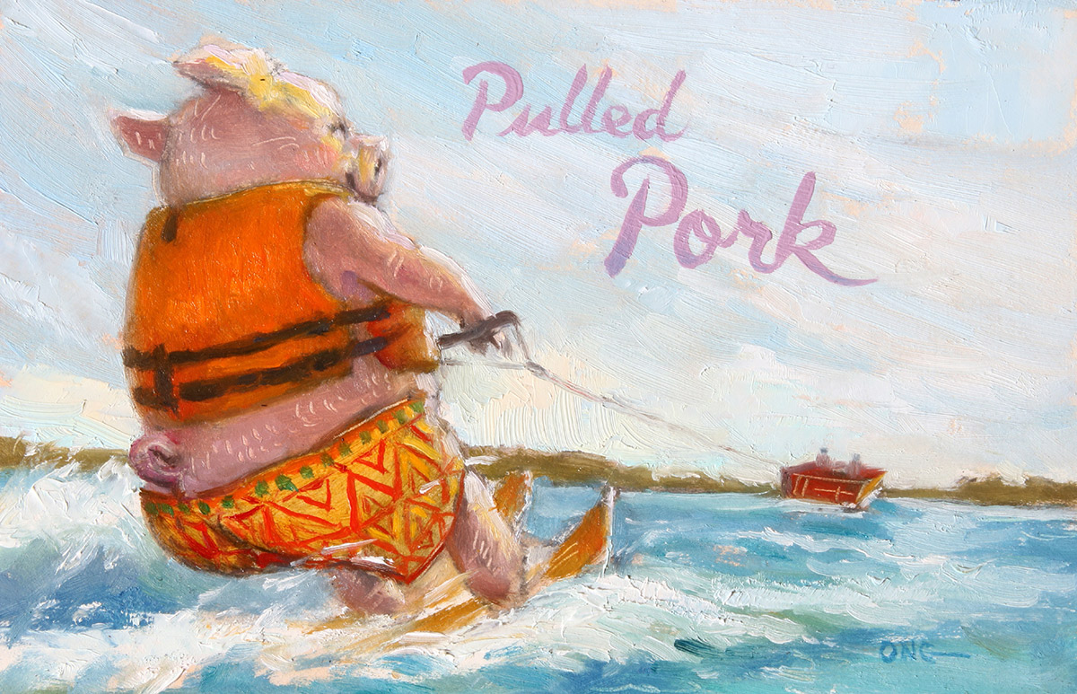 """Wilson Ong """"Pulled Pork"""" 4x6 oil/board $230. SOLD"""