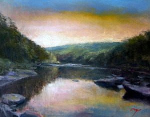 "Wilson Ong ""Shallow River Morning"" 11x14 oil/board $600."