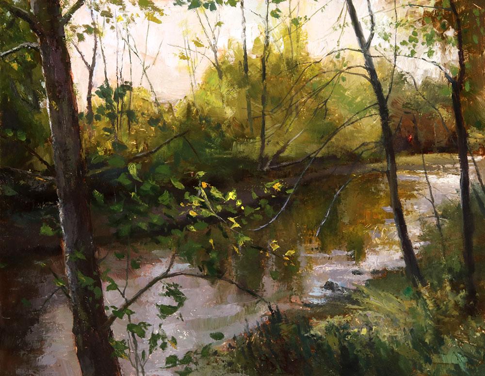 "Wilson Ong ""Sunlit River"" 11x14 oil/board $600."