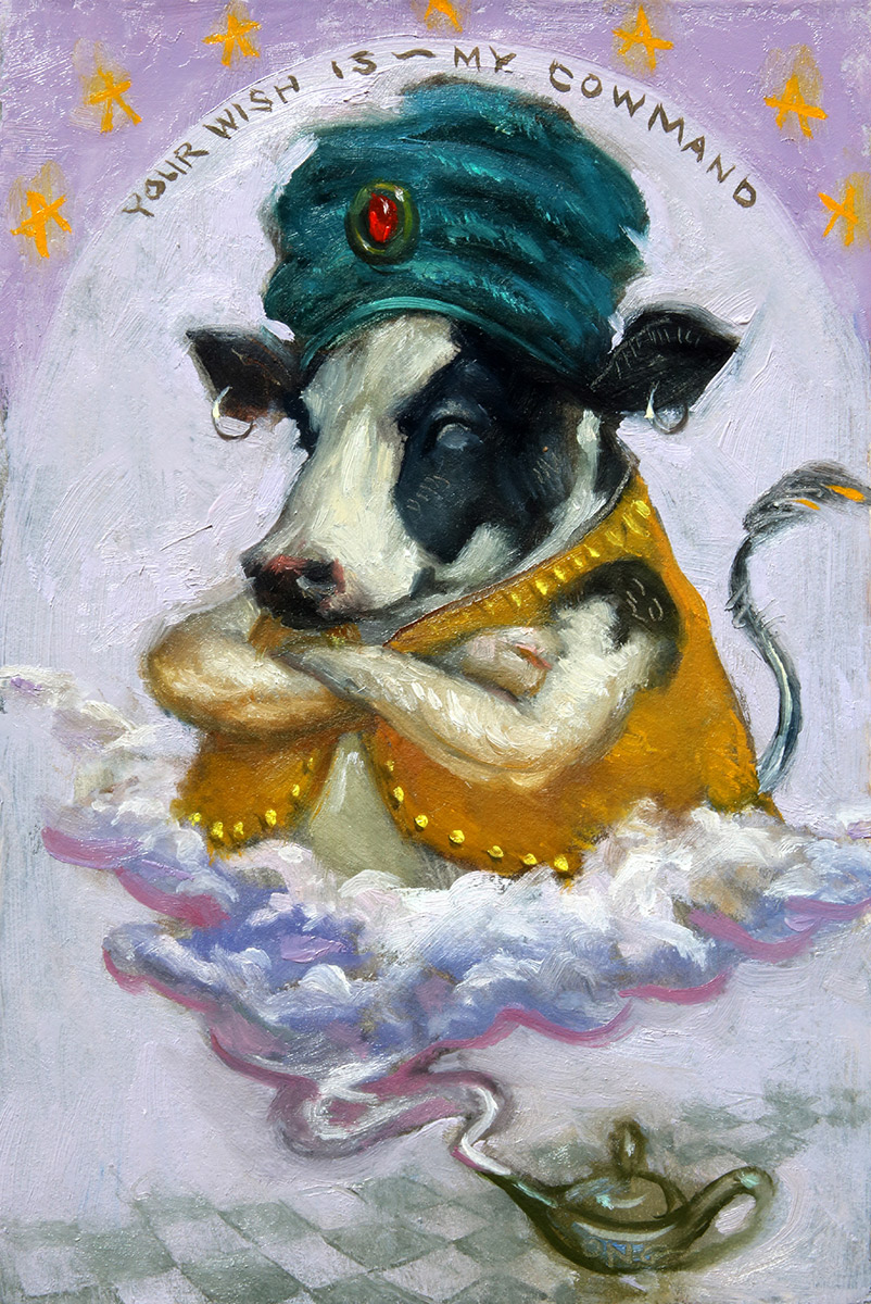 """Wilson Ong """"Your Wish is My Cowmand"""" 6x4 oil/board $230."""