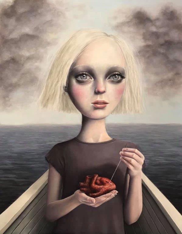 "Gina Pfleegor ""Mending a Broken Heart"" 14x11 oil $800. SOLD"