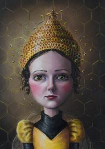 """Gina Pfleegor """"Queen Bee"""" 7x5 oil $325. SOLD"""