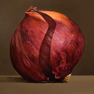 "Gina Pfleegor ""Red Onion"" 12x12 oil $460. on board with hanging system"