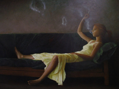 "Martin Poole ""Smoke Rings"" 36x48 oil $5,060."