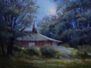 "Martin Poole ""Overgrown - Eldridge Park Dance Hall"" 12x16 oil $1,650."
