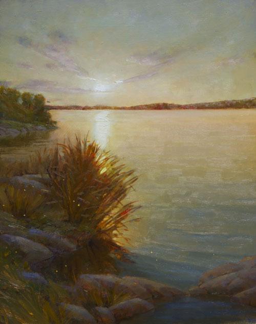 """Martin A. Poole """"Lakeside"""" 20x16 oil $2,090."""