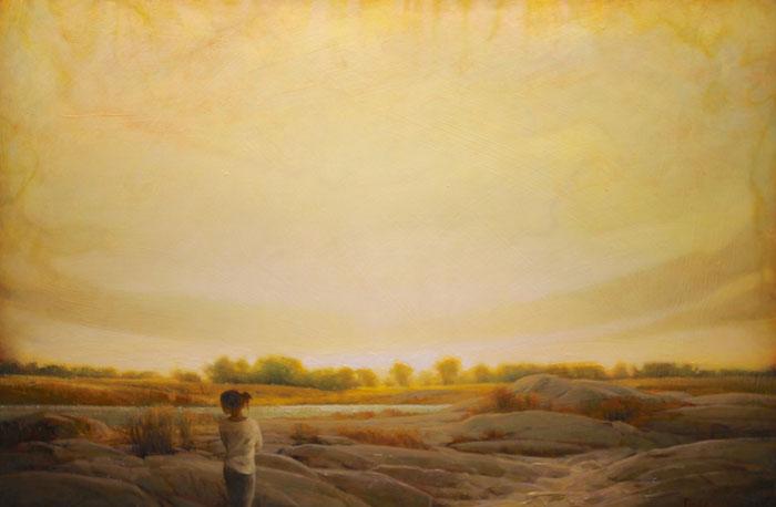 """Martin Poole """"River Walk"""" 24x36 oil $3,520."""