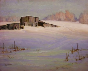 """Martin Poole """"Spring Coming - Sheds in Snow"""" 16x20 oil $2,090."""