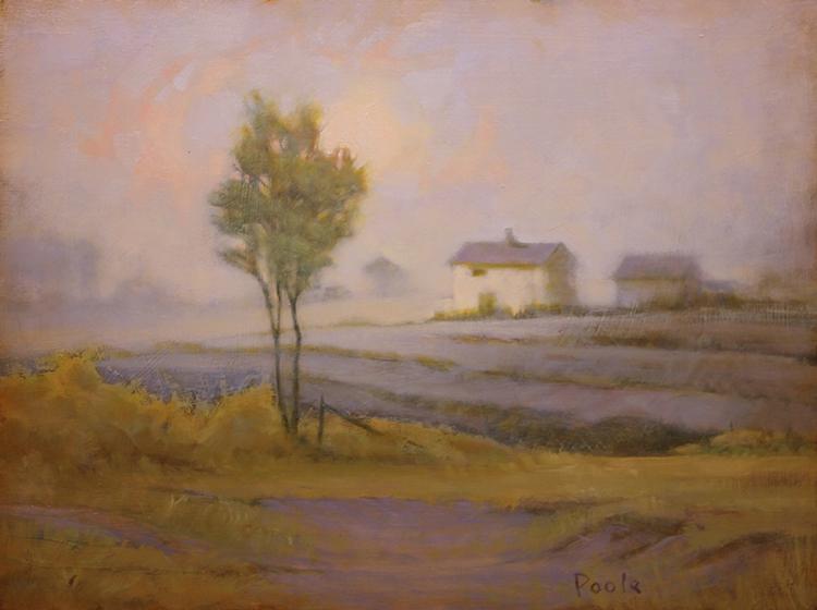"""Martin Poole """"Peach Sky - WhiteFarm"""" 12x16 oil $1,650."""