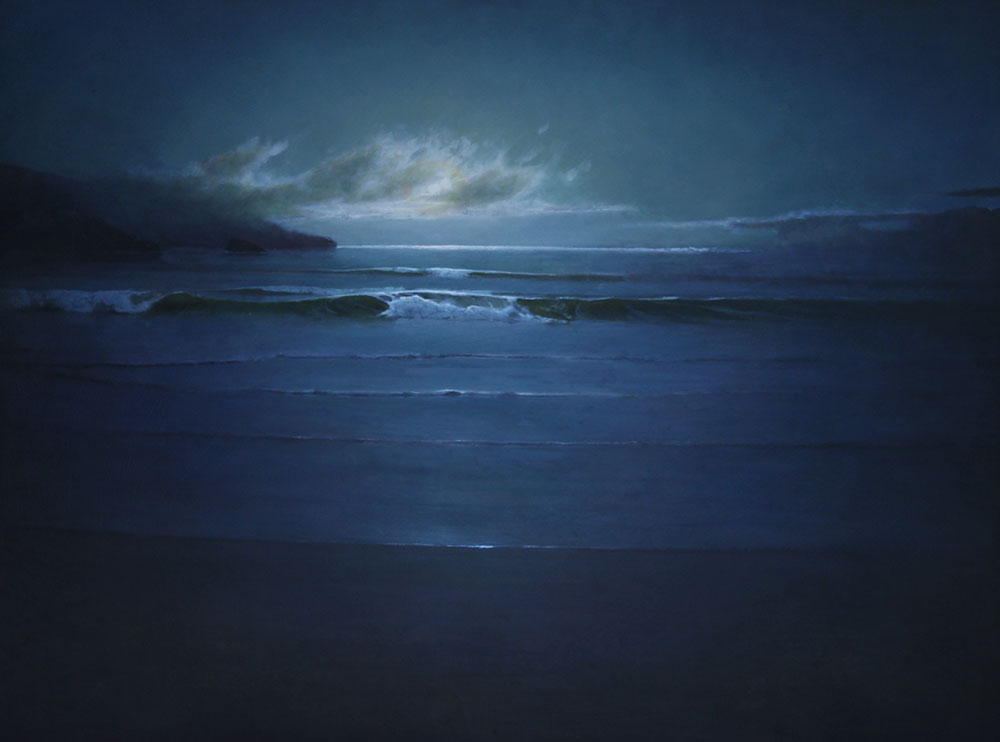 "Martin A. Poole ""Moonrise Over the Ocean"" 36x48 oil $6,100. Inquire on availability"
