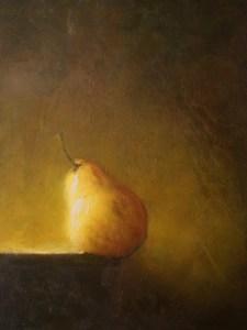 """Martin A. Poole """"Pear on the Edge"""" 9x12 oil $1,100."""