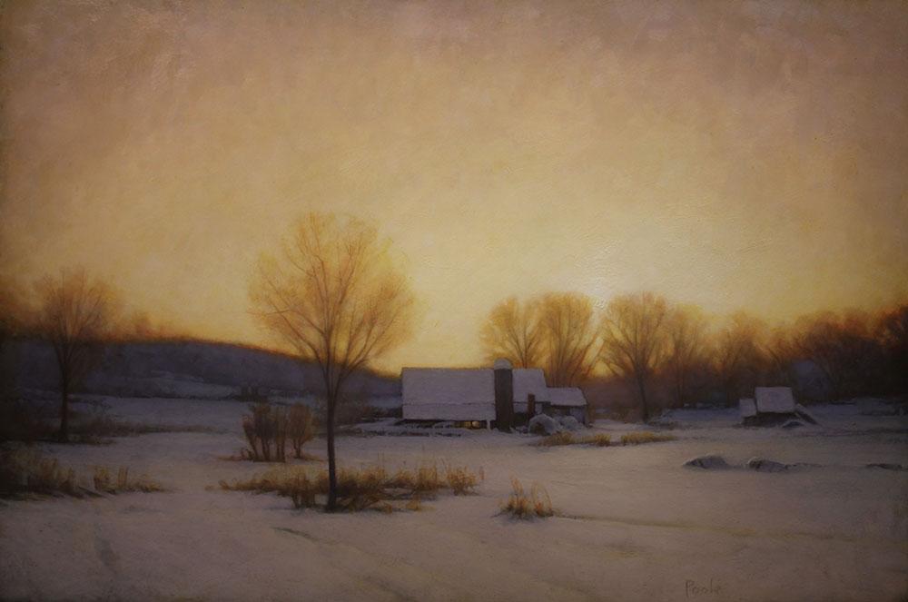 "Martin A. Poole ""Snowfield"" 24x36 oil $3,520."