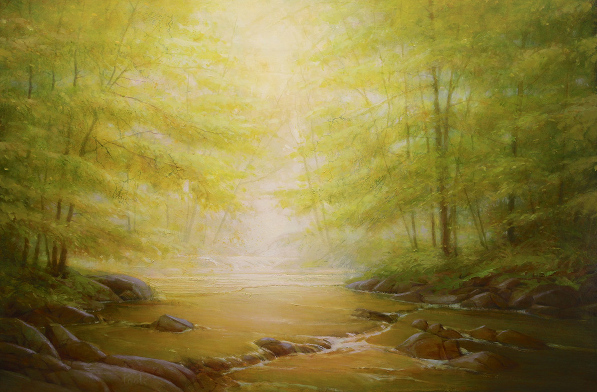 """Martin A. Poole """"Through the Trees"""" 24x36 oil $3,300. Unframed (Inquire)"""