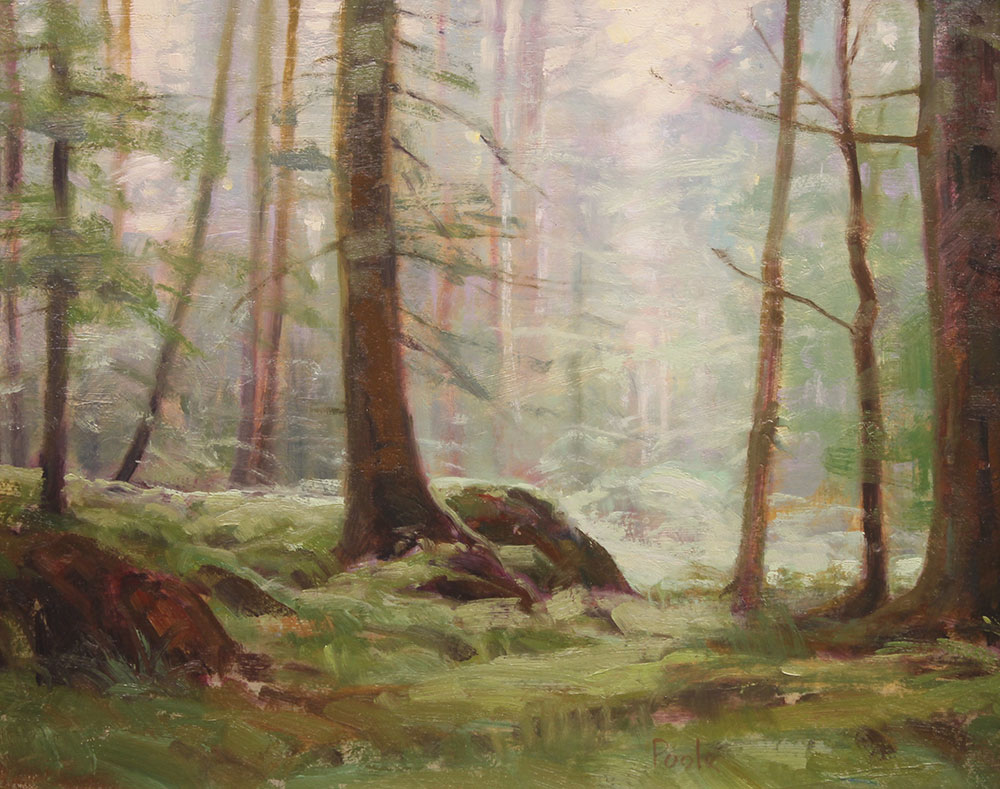 "Martin A. Poole ""Walk in the Woods"" 12x15 oil $1,650."