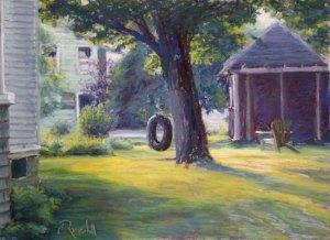 "James Ramsdell ""Backyard Swing"" 16x20 (framed size) pastel $700."