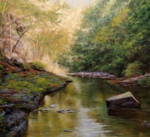 "James Ramsdell ""Down the Gorge"" 22x28 oil $1,800."