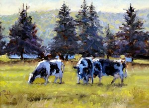 "James Ramsdell ""Morning Pasture"" 9x12 oil $700."