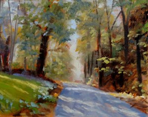"James Ramsdell ""Shaded Road"" 6x8 oil $250."