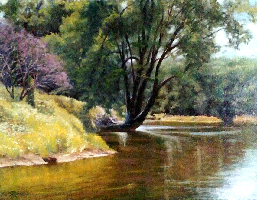"""James Ramsdell """"Spring by the River"""" 20x26 oil $1,600."""