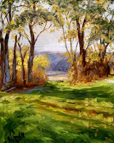 """James Ramsdell """"The Opening"""" 8x6 oil $250."""