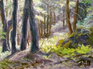 "James Ramsdell ""Sunlit Trail"" 6x8 oil $250."
