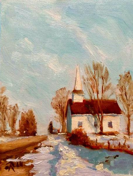 """James Ramsdell """"Winter Refuge"""" 8x6 oil $250."""