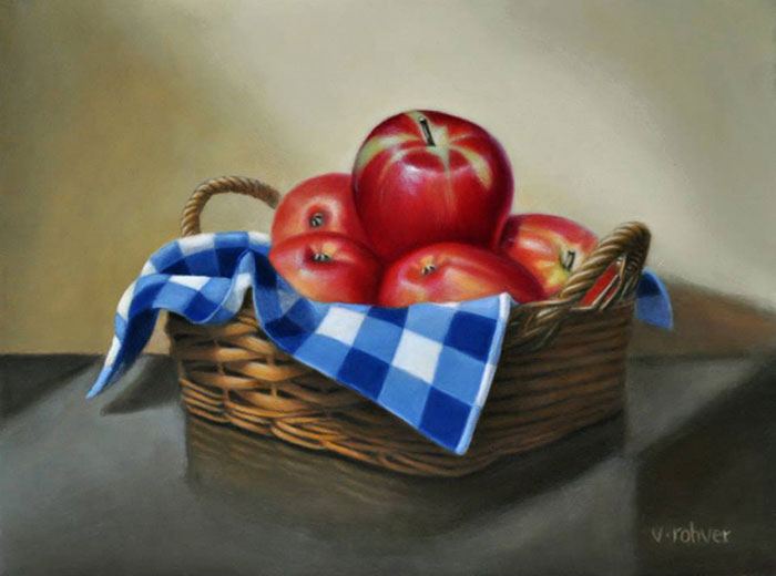 "Valorie Rohver ""A Basket of Apples"" 12x9 oil $525."