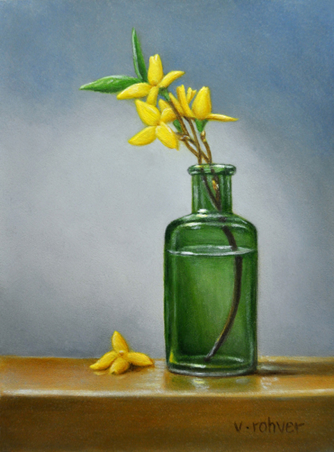 "Valorie Rohver ""Forsythia Blossoms"" 8x6 oil $295."