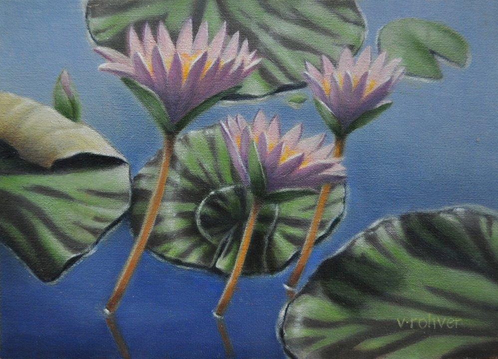 """Valorie Rohver """"Pink Lilies"""" 5x7 oil $275."""