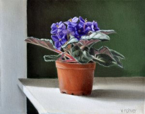 """Valorie Rohver """"The East Window Violets"""" 8x10 oil $475."""