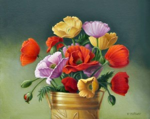 "Valorie Rohver ""Whimsical Poppies"" 11x14 oil $750."