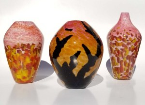 "Aaron Rovner-Buck ""Autumn Sunset and Silhouette Vase Designs"" various sizes (approx 9"" tall) blown glass $220. - $380. each"