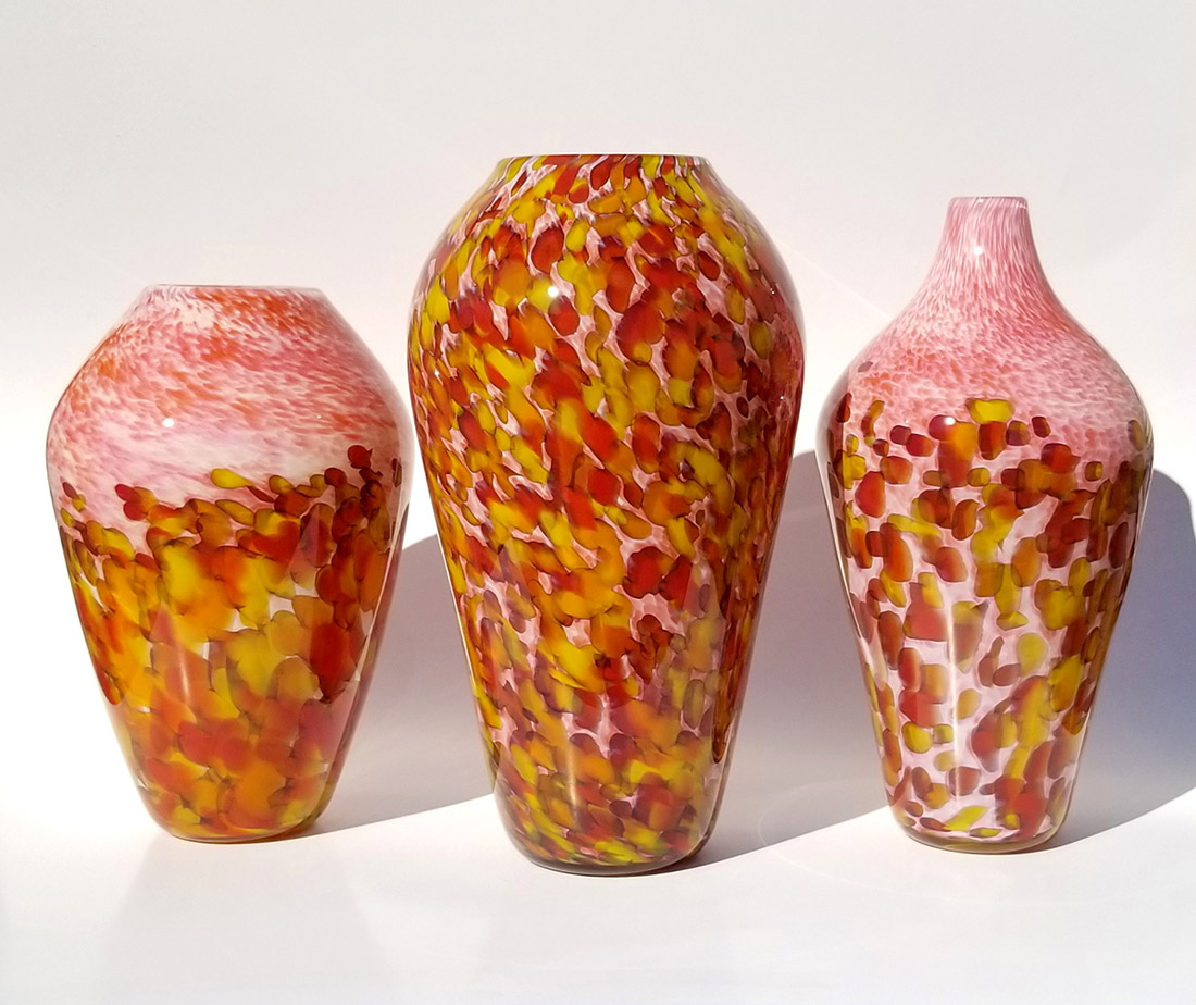 "Aaron Rovner-Buck ""Autumn Sunset Series"" From Left to Right #1, #3, #2 various sizes (approx 9"" tall) blown glass $220. - $280. each"