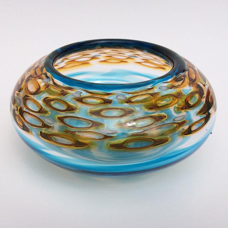 """Honey Murrini and Blue Bowl - Angle"" 8x8x6 blown glass by Aaron Rovner-Buck $200."