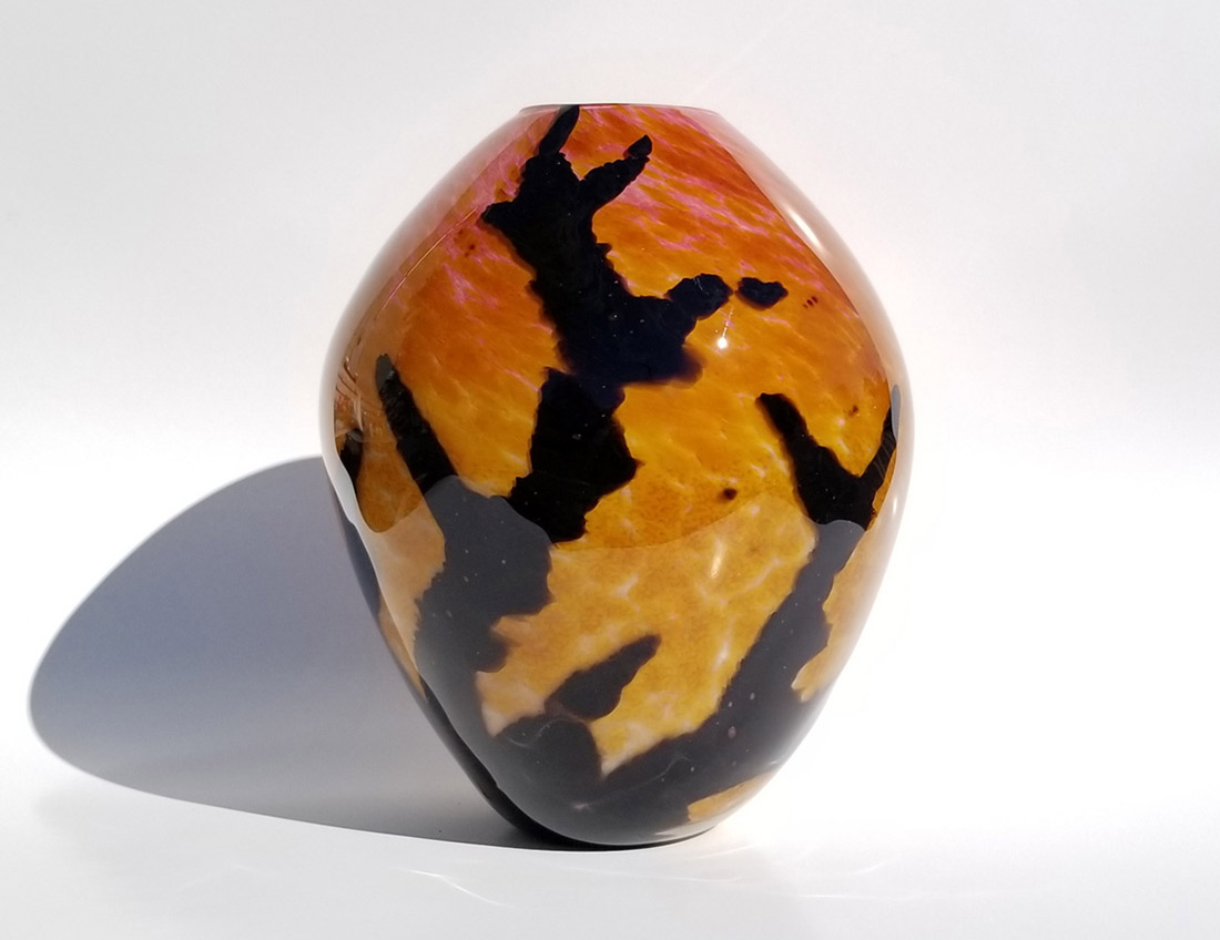 "Aaron Rovner-Buck ""Silhouette of a Branch at Twilight"" 8.5x6x6 blown glass $380."