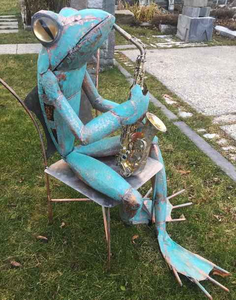 "James Seaman ""Saxophone Frog"" mixed media sculpture $ Inquire"