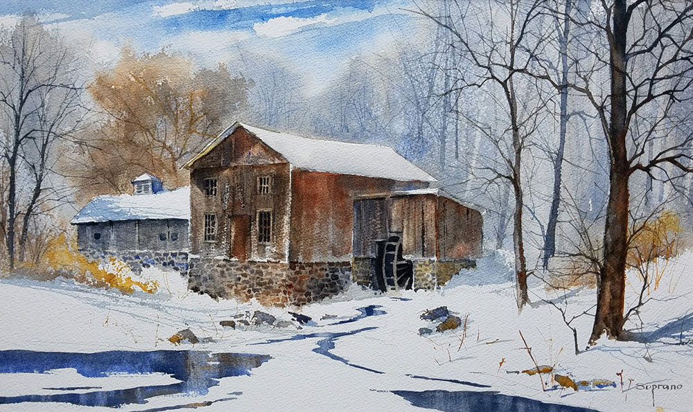 "Judy Soprano ""Ashantee Mill"" 18x27 watercolor $400."