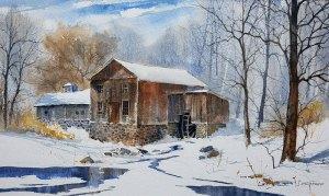 "Judy Soprano ""Ashantee Mill"" 18x27 watercolor $400."